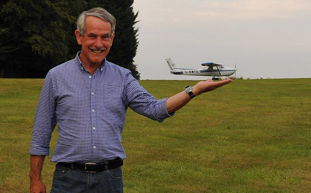 Malcolm demonstrates the first rule of successful strip flying: Always use the smallest practicable aeroplane available